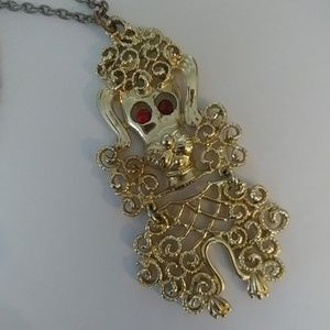 Vintage articulated poodle pendant necklace